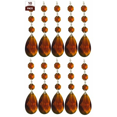 10 Pack Chandelier Replacement Crystal Prism Tear Drop Almond Three Bead Amber Finish: Chrome
