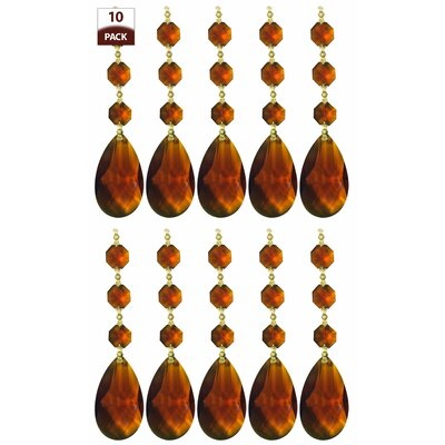 10 Pack Chandelier Replacement Crystal Prism Tear Drop Almond Three Bead Amber Finish: Polished Brass