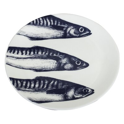 Cream Cornwall Maritime 20cm Mackerel Heads Plate