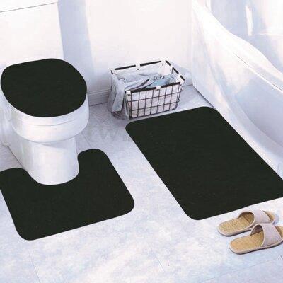 Churchton Solid 3 Piece Bath Rug Set Color: Black