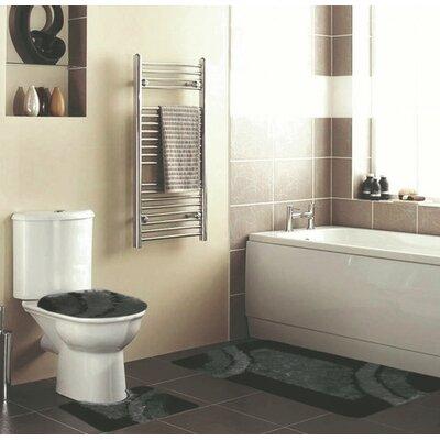 Hollen 3 Piece Bath Rug Set Color: Black
