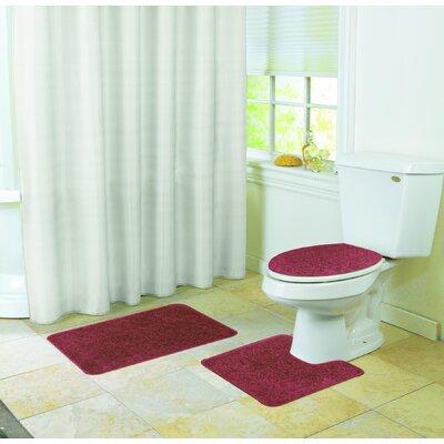 Veasley Shaggy 3 Piece Bath Rug Set Color: Burgundy