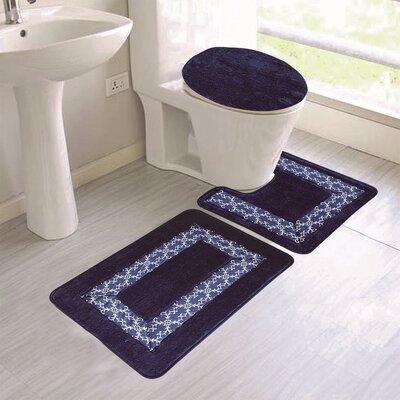 Cleitus Embroidery 3 Piece Bath Rug Set Color: Navy