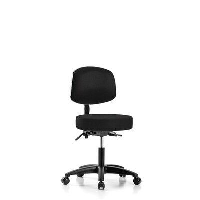 "Height Adjustable Doctor Stool Size: 42.75"" H x 24"" W x 24"" D, Color: Black Fabric"