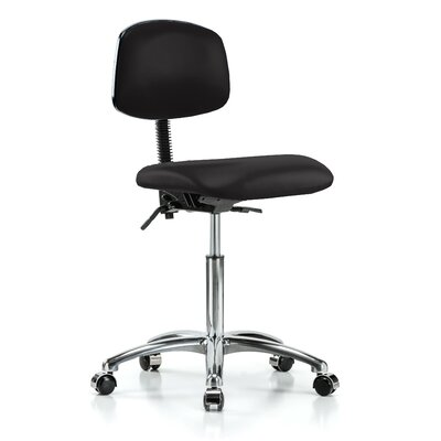 Low-Back Desk Chair Upholstery: Black Vinyl