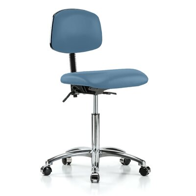 Low-Back Desk Chair Upholstery: Colonial Blue Vinyl