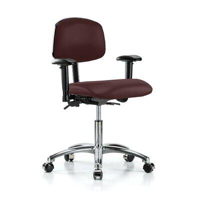 Low-Back Desk Chair Upholstery: Burgundy Vinyl