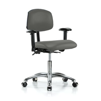 Low-Back Desk Chair Upholstery: Charcoal Vinyl