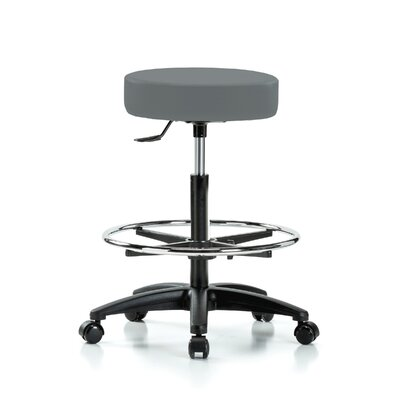 Height Adjustable Swivel Stool with Foot Ring Color: Cinder Fabric