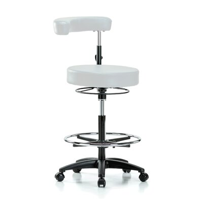 Height Adjustable Dental Stool with Procedure Arm and Foot Ring Color: Adobe White Vinyl
