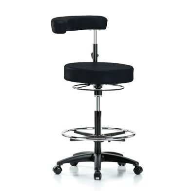 Height Adjustable Dental Stool with Procedure Arm and Foot Ring Color: Black Vinyl