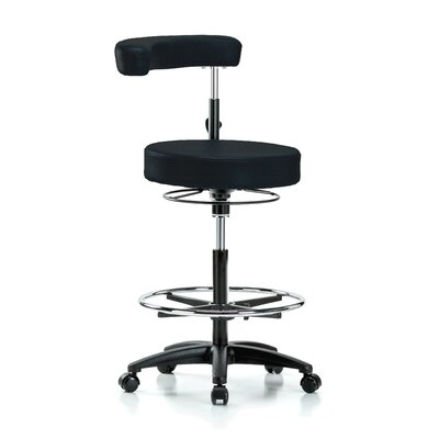 Height Adjustable Dental Stool with Procedure Arm and Foot Ring Color: Black Fabric