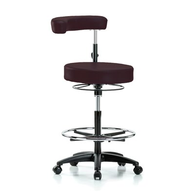 Height Adjustable Dental Stool with Procedure Arm and Foot Ring Color: Burgundy Fabric