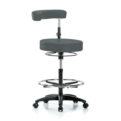 Height Adjustable Dental Stool with Procedure Arm and Foot Ring Color: Charcoal Vinyl