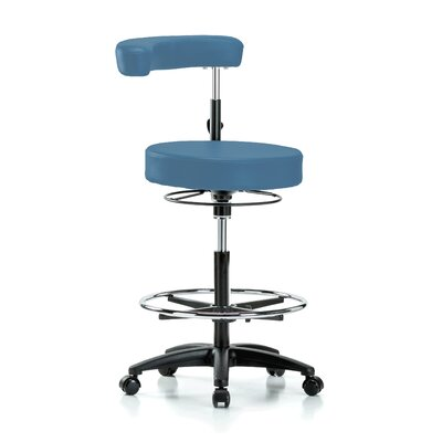 Height Adjustable Dental Stool with Procedure Arm and Foot Ring Color: Colonial Blue Vinyl