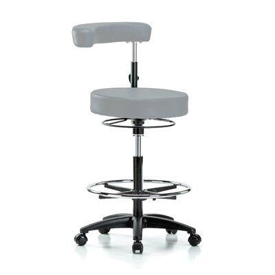 Height Adjustable Dental Stool with Procedure Arm and Foot Ring Color: Grey Vinyl