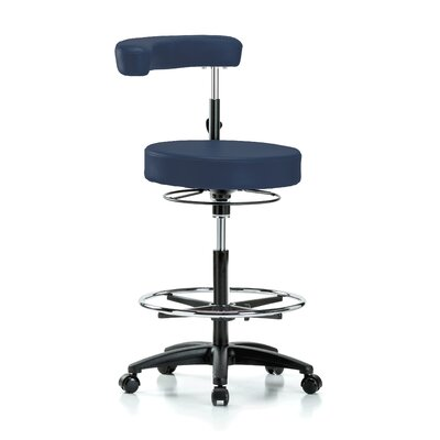 Height Adjustable Dental Stool with Procedure Arm and Foot Ring Color: Imperial Blue Vinyl
