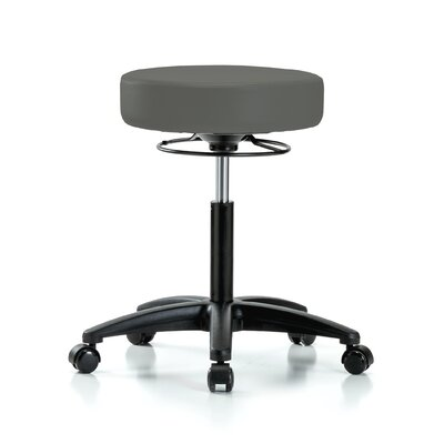 "Height Adjustable Massage Therapy Swivel Stool Size: 28"" H x 24"" W x 24"" D, Color: Charcoal Vinyl"