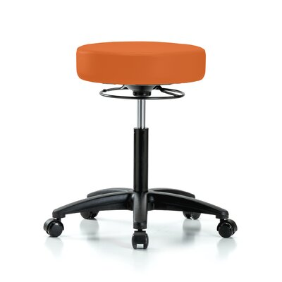 "Height Adjustable Massage Therapy Swivel Stool Color: Orange Kist Vinyl, Size: 28"" H x 24"" W x 24"" D"