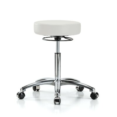 "Height Adjustable Massage Therapy Swivel Stool Size: 28"" H x 24"" W x 24"" D, Color: Adobe White Vinyl"
