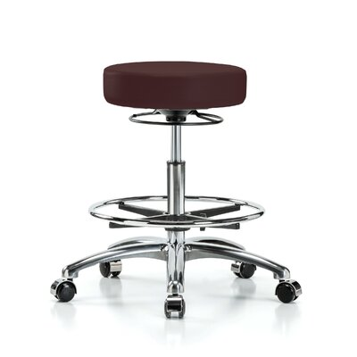 Height Adjustable Massage Therapy Swivel Stool with Foot Ring Color: Burgundy Fabric