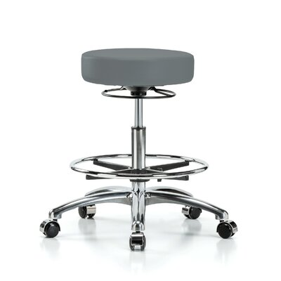 Height Adjustable Massage Therapy Swivel Stool with Foot Ring Color: Cinder Fabric