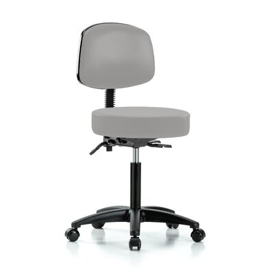 """Height Adjustable Doctor Stool Color: Grey Vinyl, Size: 42.75"""" H x 24"""" W x 24"""" D"""