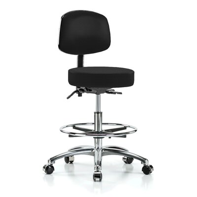 Height Adjustable Doctor Stool with Foot Ring Color: Black Fabric