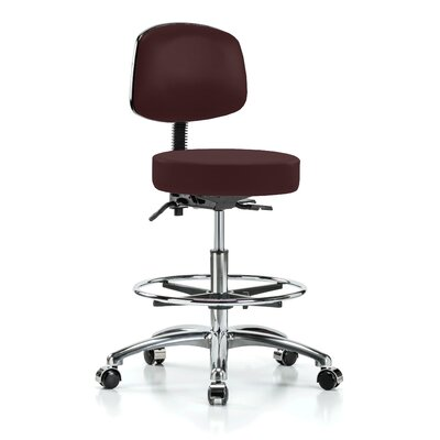 Height Adjustable Doctor Stool with Foot Ring Color: Burgundy Fabric