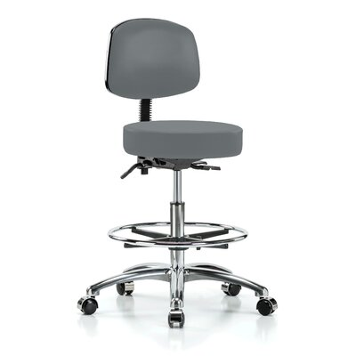 Height Adjustable Doctor Stool with Foot Ring Color: Cinder Fabric