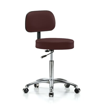Height Adjustable Exam Stool with Basic Backrest and Foot Ring Color: Burgundy Vinyl