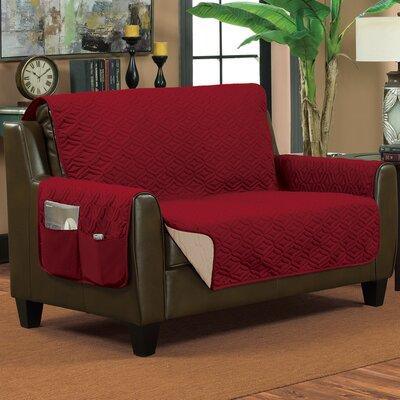 Lattice Box Cushion Loveseat Slipcover Color: Burgundy/Beige, Size: Small