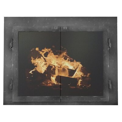 """Mountain Series Fireplace Glass Door Size: 32"""" H x 41"""" W x 3"""" D, Finish: Grained Pewter"""