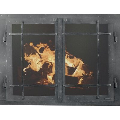 """Mountain Series Fireplace Glass Door Size: 33"""" H x 42"""" W x 3"""" D, Finish: Grained Pewter"""
