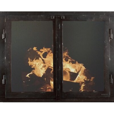 """Mountain Series Fireplace Glass Door Size: 33"""" H x 46"""" W x 3"""" D, Finish: Black Copper"""