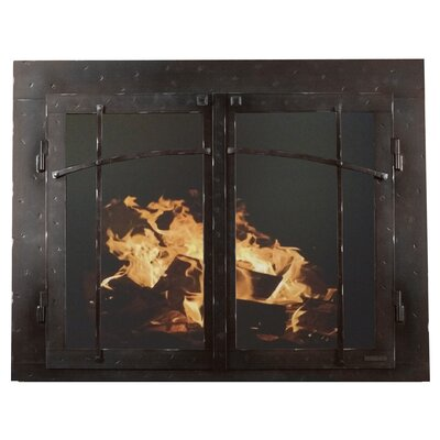 """Mountain Series Fireplace Glass Door Size: 29"""" H x 47"""" W x 3"""" D, Finish: Black Copper"""