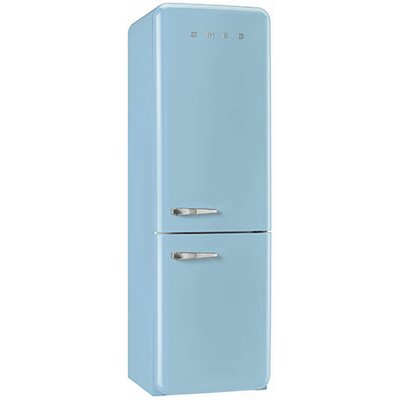 11.7 cu. ft. Counter Depth Bottom Freezer Refrigerator with Wine Rack Color: Pastel Blue, Handle Location: Left
