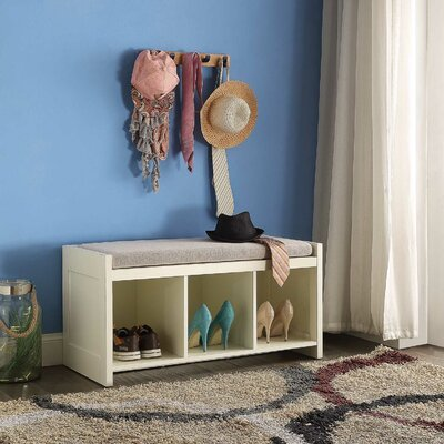 Allen Wood Storage Bench Color: Ivory