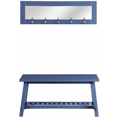 Wooden Bench and Mirror Color: Blue