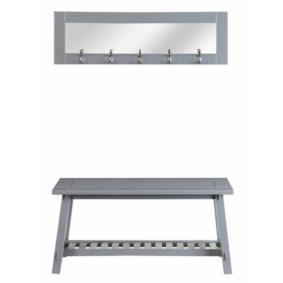 Wooden Bench and Mirror Color: Gray