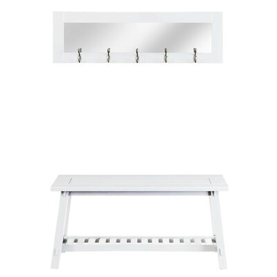 Wooden Bench and Mirror Color: White
