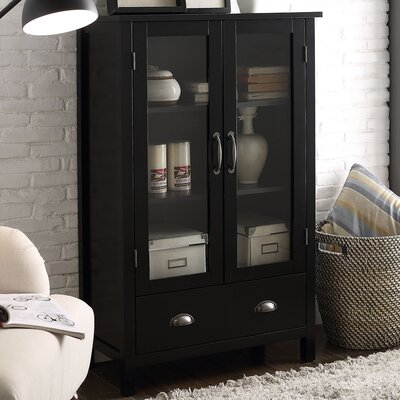 2 Door Accent Cabinet Color: Black
