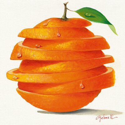 """DEInternationalGraphics """"Orange Cut"""" von Paolo Golinelli, Kunstdruck"""