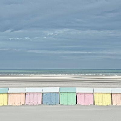 """DEInternationalGraphics Acrylglasbild """"Cabanes-pastel"""" von Georges-Félix Cohen, Fotodruck"""