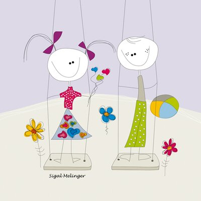 "DEInternationalGraphics ""Children on a Swing"" von Sigal Melinger, Grafikdruck"