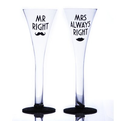 Boxer Gifts Mr. Right and Mrs. Always Right 300ml Champagne Flute