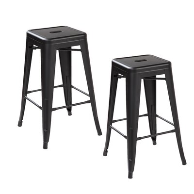 "26.4"" Bar Stool Color: Matte Black"