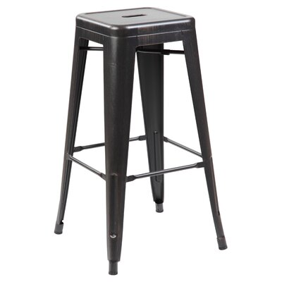 "Daria 30"" Bar Stool Color: Antique Black Brushing"