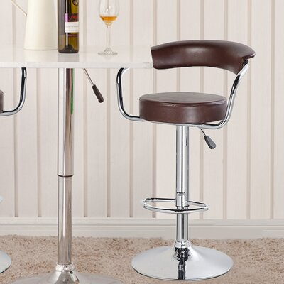 Adjustable Height Swivel Bar Stool Upholstery: Brown
