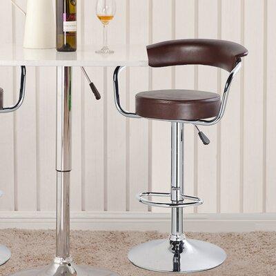 Adjustable Height Swivel Bar Stool Upholstery: Brown
